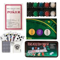 200 Poker Game Texas Hold'em Set Gaming Mat Chips 2 Decks Playing Card With Box