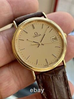 Omega Solid 18K 750 Gold De Ville Full Set mens Card Papers Box dress used Watch